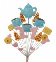 Afternoon tea 21st birthday cake topper decoration in pale blue and pale pink - free postage